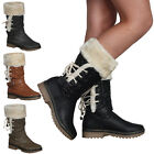3I WOMENS FAUX FUR LINED LADIES GRIP SOLE WARM WINTER CALF BOOTS SHOES SIZE 3-8