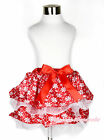 Baby Girl Red White Snowflake Chiffon Petal Pettiskirt with Hot Red Bow NB-8Year