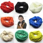 Unisex Women Infinity 2 Circle Winter Warm Cable Knit Cowl Neck Long Scarf Shawl