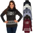 New Womens Ladies Cowl Neck Fairisle Nordic Pattern Jumper Dress Size 8 10 12 14