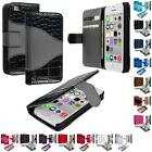 For iPhone 5C Leather Wallet Pouch Case Cover Credit Card ID Holder Accessory