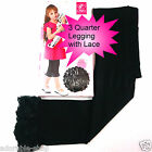 BLK8397 Black 3 Quarter with Lace Tight / Legging Age SIZE 1,2,3,4,5,6,7,8,9,10Y