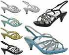 NEW KIDS DIAMANTE GIRLS STRAPPY HEELED CHILDRENS PARTY SANDALS SHOES SIZE 10-2