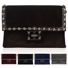 WOMENS STUDDED LADIES MEDIUM FAUX PONY SKIN EVENING ENVELOPE CLUTCH BAG HANDBAG