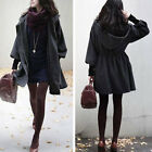 NEW Women Lady Korean Loose Slim Flit Hood Long Coat Jacket Dark Grey M1931