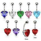 New Surgical Steel Gem Love Heart Belly Navel Bar 1.6mm Choice of Gem Colour