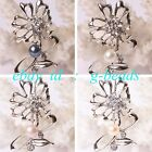 7-8mm fashion freshwater pearl with gold plated flower shape brooch 25x52mm