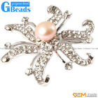 9-10mm nice freshwater pearl with white gold plated starfish shape brooch 48""