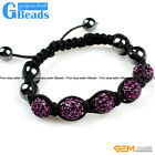 "10mm Gemstone Pave Sparkle Crystal 5 Ball Beads Bracelet Adjustable 6""-8"""
