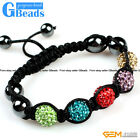 "10mm  pave sparkle swarovski crystal ball 5 beads bracelet adjustable 6""-8"""