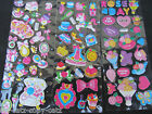 3 x SHEETS COLOURFUL GIRLY FASHION LOVE CROWN 3D PUFFY RE-USE STICKERS UK SELLER
