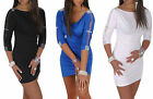 NEW Sexy Bodycon Dress Lace Sleeve Diamente Detail  Tunic Top size 8-12   ~121~