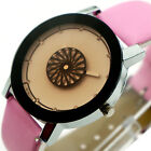 New Lady Leather Quartz Wrist Spin Dial Analog Women Watch 5 Colors