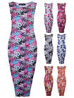 Womens Printed Midi Dress Sleeveless Floral Vintage Ladies Brand New Sz 8-14