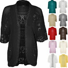 New Plus Womens Crochet Knit Ladies Short Sleeve Shrug Bolero Cardigan Top 16-22