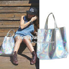 bg8 Celebrity Style Trendy Metallic Silver Oversized Shopping Tote Hologram Bag