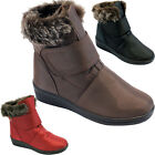 WOMENS FLAT FUR FAUX SNUGG BIKER WINTER WARM SNOW CALF BOOTS SIZE LADIES GIRLS