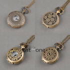 Chic Bronze Necklace Pendant Chain Mini Pocket Watch Gift Retro Vintage Style