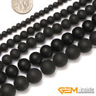 Natural Black Onyx Gemstone Matte Round Beads For Jewelry Making 4mm 6mm 8mm