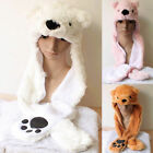 1 Pc Cute Super Soft Plush Polar Bear Cojoined Hat And Gloves