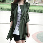 Korea Womens Long Sleeve Open Front Jacket Stylish Cardigan Slim Trench Coat new