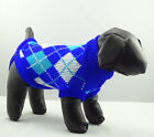 Pet Cat Dog Clothes Sweater Blue Argyle Knitted Jacket Jumper Puppy Chihuahua
