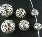 20 Tibetan Silver Hollow Ball Round Beads 8mm/11mm/14mm