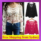 Women Semi Sexy Sheer Long Sleeves Embroidery Floral Lace Crochet Top Blouse Tee
