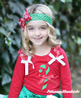 XMAS Girl Candy Cane Red White Dot Bow Snowflake Ruffle White Bow Red Top NB-8Y