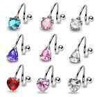 Gorgeous Belly Bar Twist  with Tear Drop, Round or Heart Shape Crystal Gem - New