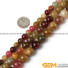 Natural Round Smooth Mixed Jade Jewelry Making loose gemstone beads strand 15""