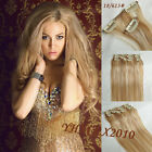"7pcs Clip on Hair Extensions 100% Human Hair 14""-30"" Mixed Brown blonde #18/613"