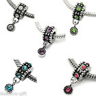 10PCs European Charm Dangle Beads Rhinestone Round Silver Tone 21x10mm M1302