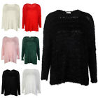 7U WOMENS FLUFFY KNITTED LADIES SPARKLE STRETCH OVERSIZED JUMPER TOP SIZE 8-14
