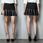 Patchwork Women Faux Leather A-line Skirt Pleated New Pu Mini Skirts Black Dress