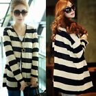 Chic Long Sleeve Striped V Neck Womens Cardigan Knit Tops Outwear Thin Stylish
