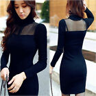 Sexy Women Mesh Slim High Neck Knit Fall Winter Party Sweater Bodycon Dress S-XL