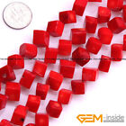 """Natural Cube Red Coral Jewelry Making loose gemstone beads strand 15"""" yao-bye"""