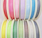 10mmPOLYESTER GINGHAM RIBBON,BLACK,GREEN,BLUE,RED,PINK,GREY,YELLOW,BROWN X 2M