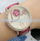 Fashion Dazzle Crystal Star Rose Gold Ladies Women Purple Leather Quartz Watch