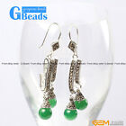 Fashion  Pretty 8mm round beads Marcasite silver dangle earrings G-Beads