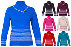 Womens Long Sleeves Ladies Stripe Stretch Button Sweater Jumper Top Plus Size