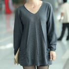 Fashion Women Bead Sexy V Neck Pullover Long Wool Sweater Long Sleeve Mini Dress