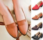 Womens Ladies Pointed Toe Slip On Cuban Heel Court Office Shoes Plus Size A-23