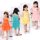 NEW Toddlers Baby Girls Kids Princess Braces Skirt Party XMAS Lace Formal Dress