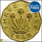 1937 TO 1952 GEORGE VI BRASS THREE PENCE CHOICE OF YEAR / DATE