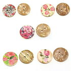100PCs Coconut Shell Buttons Sewing Scrapbook Mixed Pattern Natural 15mm Dia.