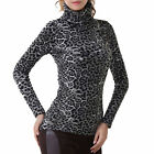 Winter New Women Leopard Turtle Neck Long Sleeve Slim Pullover Thick Tops Blouse