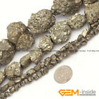 """Natural Silver Gray Pyrite Gemstone Freeform Loose Beads For Jewelry Making 15"""""""