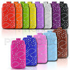 Diamond Bling Premium PU Leather Pull Tab Pouch Case 4 Various LG Mobile Phones